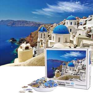 Vimzone 1000 Pieces Jigsaw Puzzle -Santorini, Jigsaw Puzzle Game Artwork for Adults, Teenagers, High Definition Printing Floor Puzzle Multi-Colour (70x50cm)