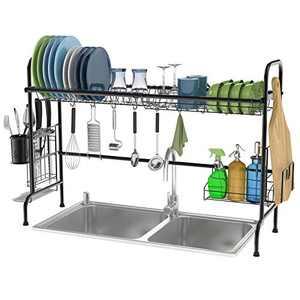 Over the Sink Dish Drying Rack, Veckle Large Dish Rack Stainless Steel Dish Drainer Easy Install Non-Slip Dish Dryer Utensil Holder, Cutting Board Holder Kitchen Sink Shelf Storage Rack, Black