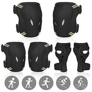 SEEHONOR Protective Gear Set for Kids/Youth, Adjustable Reflective Safety Knee Pads Elbow Pad and Wrist Guards for Boys Girls Ages 3-8 Rollerblading Skateboard Cycling Skating Bike Scooter (Black)