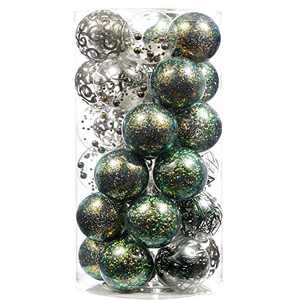 "60mm/2.36"" Christmas Ball Ornaments Shatterproof Large Clear Plastic Hanging Christmas Tree Ornaments Sets Ball Decorative with Stuffed Delicate Decorations (30CT,Green)"