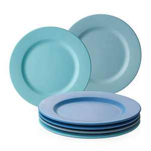DOWAN Dinner Plates 10 Inches, Porcelain Salad Plates Set of 6, Matte Blue Pasta Serving Plates with Wide Rim, Microwave and Dishwasher Safe