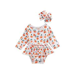Infant Baby Girl Clothes Tangerine Romper with Headband Long Sleeve Bodysuit Cotton One Piece Jumpsuit Onesie Baby Girl Fall Outfits (6-12 Months, Pumpkin)