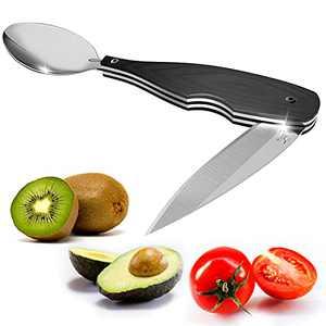 "wonderoad Folding Fruit Knife Spoon Avocado Slicer Travel Knife Kiwi Peeler Sharp Paring Knife 3.5"" Stainless Steel Avocado Cutter Tool Camping Flatware Utensils cutlery"