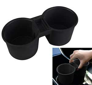 Topfit for Tesla Model 3 Model Y Water Cup Holder Insert Center Console Slot Slip Limit Clip Rubber Kit no More Spilled Drinks(Black)