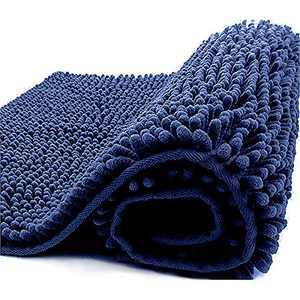 Huinsh Bathroom Mats Shaggy Chenille Soft Microfibers Rugs Bathroom Mat Rugs Machine Washable (20×32 Inches Navy)