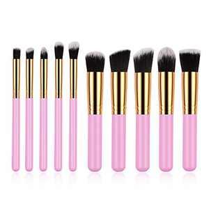 Daxstar Makeup Brushes Set - 10pcs Easy Carry Golden Pink Kabuki Eyeshadow Powder Eyebrow Eyeliner Blush Concealer Brush Tools