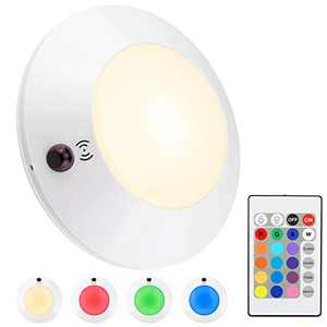 HONWELL Battery Powered Ceiling Light with Remote, Indoor/ Outdoor LED Ceiling Lights, Wireless Shower Light, 300LM 4 Modes 16 Color Changing Light Dimmer for Laundry, Garage, Entrance, Hallway-5 Inch