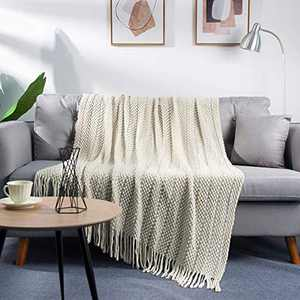 "LALIFIT Throw Blanket with Tassel Solid Soft Sofa Couch Cover Decoration Knitted Blankets Gifts for Home Decorate 50"" x 60""(Bubble Beige)"