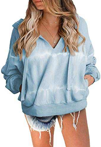 Women's Striped Tie Dye Hoodie Sweatshirts V Neck Loose Baggy Cropped Pullover Tops Blue