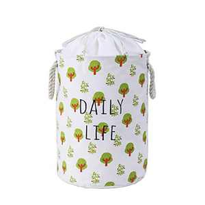 NEATNESSOME Nursery Laundry Hamper with Rope Handles Collapsible Waterproof Round Storage Basket with Tree and Drawstring for Clothes, Baby Toys Organizer (Small,D13.7xH17.7inch)