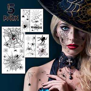 Halloween Face Tattoos, Spider Temporary Tattoos, Halloween Temporary Sticker Costume Makeup Tattoos Kit, 5 Sheets Realistic Fake Spider Face Decal Fall Temporary Tattoo for Face Body Men Women