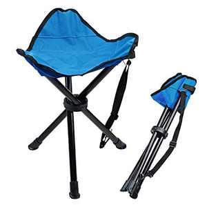 Camping Folding Stool Lychee Outdoor Three-Legged Foldable Stool Camping Beach Fishing Chair Garden Seat Small Travelling Stool (Dark Blue)