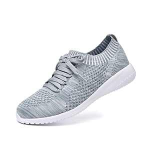 JIUMUJIPU Women's Walking Sneaker Slip-on Running Shoes - Black,White,Gray,Lightweight Mesh-Comfortable Tennis Shoe (Gray/green/004-12, 10)