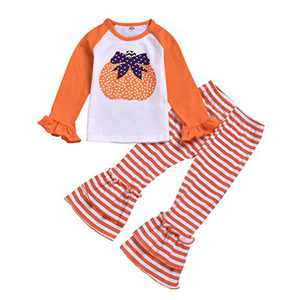 Toddler Little Girls Ruffle Flare Tunic Dress Top Striped Leggings Pants 2PC Fall Winter Outfit Set Clothes (3-4T, Orange Pumpkin)