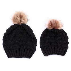 NCONCO 2PCS Parent-Child Hat Warmer, Women Kids Baby Child Warm Winter Knit Beanie Fur Pom Bobble Hat Crochet Ski Cap
