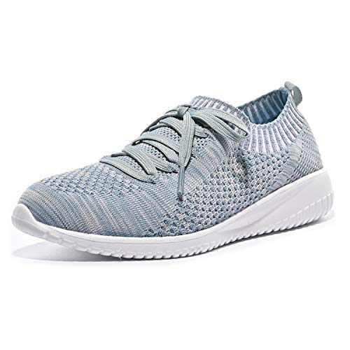 JIUMUJIPU 004 Women's Athletic Running Shoes,Suitable for Fitness,Jogging,Morning Running (Gray/green/004-12, 9)