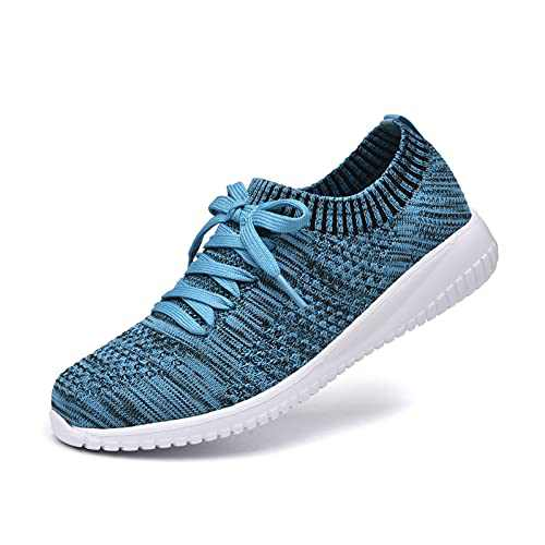JIUMUJIPU Women's Walking Sneaker Slip-on Running Shoes - Black,White,Gray,Lightweight Mesh-Comfortable Tennis Shoe (Black/Royal blue/004-8, 6)