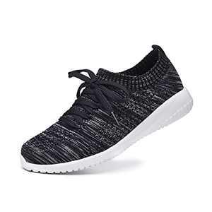 JIUMUJIPU Women's Walking Sneaker Slip-on Running Shoes - Lightweight Mesh-Comfortable Tennis Shoe (Dark blue/grey/004-11, Numeric_8_Point_5)
