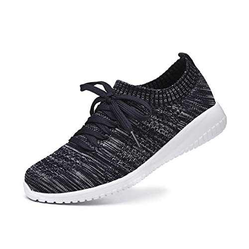 JIUMUJIPU Women's Walking Sneaker Slip-on Running Shoes - Black,White,Gray,Lightweight Mesh-Comfortable Tennis Shoe (Dark blue/grey/004-11, 6)