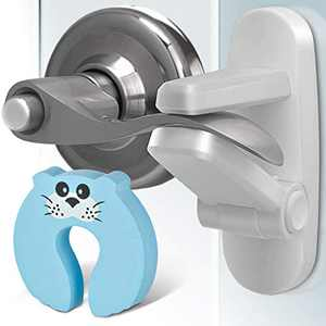 Door Lever Lock (3 Pack +Gift) Child Door Locks for Kids Safety - Lever Door Handle Child Locks for Door - Child Proof Locks for Doors - Child Proof Door Lock - Door Safety for Kids - Baby Proof Door