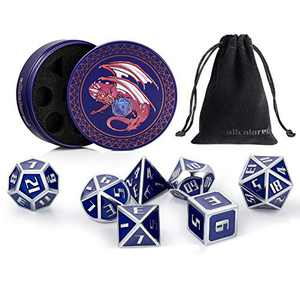 ALLCOLORED Metal Dice Set D&D 7PCS Standard 16mm Polyhedral DND Dice Blue Silver with Metal Display Case and Velvet Bag for Playing Tabletop Roleplay Games Dungeons and Dragons