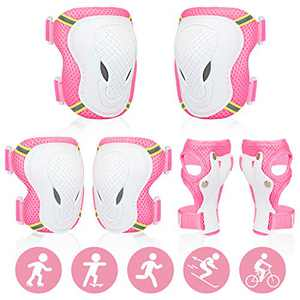 Protective Gear Set for Kids/Youth, Adjustable Reflective Safety Knee Pads Elbow Pad and Wrist Guards for Boys Girls Ages 3-8 Rollerblading Skateboard Cycling Skating Bike Scooter (Pink)