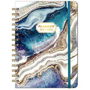 """2021-2022 Planner - Academic Planner 2021-2022 from July 2021 - June 2022, 6.4""""x 8.5"""", Flexible Cover Planner with Elastic Closure, Coated Tabs, Inner Pocket"""