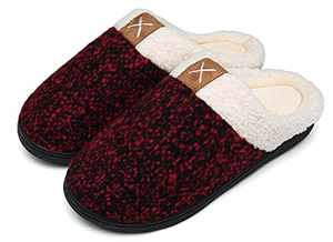 UBFEN Womens Slippers Memory Foam Comfort Fuzzy Plush Lining Slip On House Shoes Indoor Outdoor Red 11-12 Women 8-9 Men