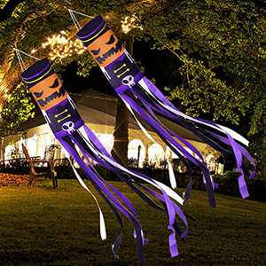 """TURNMEON 2021 2Pack Large Halloween Windsock 70"""" Pumpkin Ghost Tree Hanging Decorations Halloween Windsock Flag Halloween Outdoor Decorations Front Door Yard Porch Patio Lawn Garden Party Decor"""