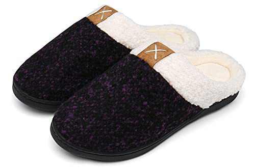 UBFEN Womens Mens Slippers Memory Foam Comfort Fuzzy Plush Lining Slip On House Shoes Indoor Outdoor Purple 9-10 Women 6-7 Men
