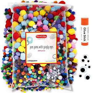 Incraftables 2000 Pcs Pom Poms with Googly Eyes & Glue Stick. Best Colored & Glitter Cotton 0.4 to 1.4 inch Balls for DIY Craft, Hats & Decorations. Multicolor Puffy Pompom Gift Set for Kids & Adults