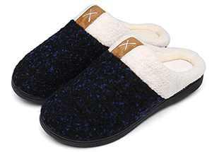 UBFEN Womens Mens Slippers Memory Foam Comfort Fuzzy Plush Lining Slip On House Shoes Indoor Outdoor Navy 5-6 Women 3-4 Men