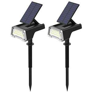 Daufri Solar Lights Outdoor, 36 LEDs Landscape Spotlights, Waterproof 2 in 1 Wall Lights with USB charge, Adjustable Solar Panel for Yard Garden Driveway Porch Walkway Pool Patio ( 2 Pack Cold White )