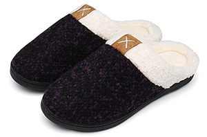UBFEN Womens Mens Slippers Memory Foam Comfort Fuzzy Plush Lining Slip On House Shoes Indoor Outdoor Purple 7-8 Women 5-6 Men