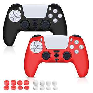 2 Pack PS5 Controller Skin Covers Grip Protector Gifts for Friends with 16 pcs Thumb Grip Caps for Sony Playstation 5 Anti-Slip Silicone Christmas Xmas Gifts for Men Women Hubby Wife