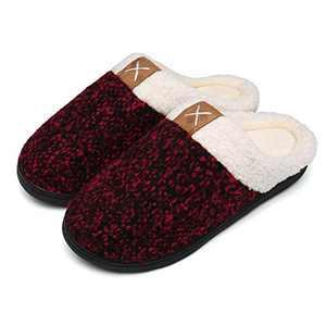 UBFEN Womens Slippers Memory Foam Comfort Fuzzy Plush Lining Slip On House Shoes Indoor Outdoor Red 5-6 Women 3-4 Men