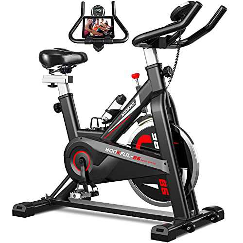 YONKFUL Exercise Bike Belt Drive Indoor Cycling Bike Adjustable Stationary Bicycle Home Gym Bike for Workout Cardio Bikes with IPad Mount and Comfy Seat Cushion
