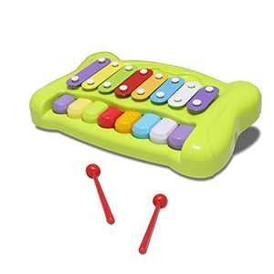 JINRUCHE Kids Piano Keyboard Xylophone 2 in 1 Percussion Toys, 8 Keys Educational Musical Instruments Toy for 3-6 Years Old Kids Girls & Boys