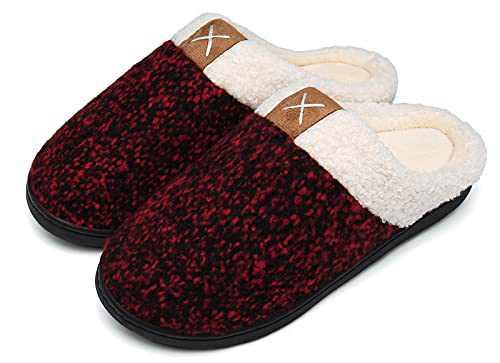 UBFEN Womens Slippers Memory Foam Comfort Fuzzy Plush Lining Slip On House Shoes Indoor Outdoor Red 7-8 Women 5-6 Men