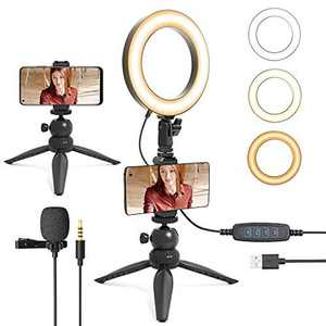 "6"" Ring Light Kit,Dimmable 3 Light Modes & 10 Brightness Selfie, uhuru Ring Light with Lavalier Microphone,Portable Light Kit for Makeup Online Teaching,Room Meeting,Youtube, Streaming,Tiktok"