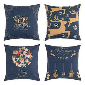 SIGOODS Set of 4 Christmas Throw Pillow Covers New Year Pillowcase Xmas Gift Elk Snowflake Decorations Pillow Covers Dark Blue Cotton Linen for Farmhouse Home Car Sofa Bed Festival Deco 18'' x 18''