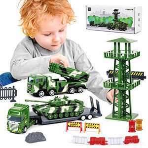 Military Vehicles Playset Include Tank Toy, Semi Trailer Truck, Missile Truck, Watchtower and Road Sign Accessories(40Pcs), Army Base Toy for Boys, Gift for Age 3 and up Kids Toddlers Children Present