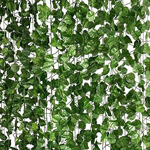 LA.PONEE 12 Strands Artificial Ivy Leaf Plants Vine Hanging Garland Fake Foliage Flowers Home Kitchen Garden Office Wedding Wall Decor (Green 04-84 Feet)