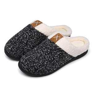 UBFEN Womens Mens Slippers Memory Foam Comfort Fuzzy Plush Lining Slip On House Shoes Indoor Outdoor Grey 15-16 Women 12-13 Men