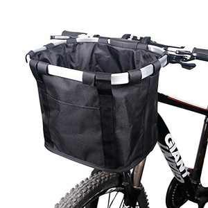 HappyOrange Bike Basket, Small Pet Cat Dog Carrier Bicycle Handlebar Front Basket - Folding Detachable Removable Easy Install Quick Released Picnic Shopping Bag