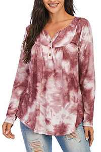 Beauhuty Womens V Neck Shirts Long Sleeve Loose Fitting Print Tie Dye Blouse Floral Tunic Tops (Long-Print-03,M)