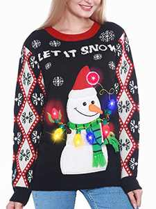 Camlinbo Light Up Women's Christmas Sweater, 3D Penguin Snowman Santa Hat Ugly Sweater Knit Holiday Funny Sweatshirt (Snowman, Large)