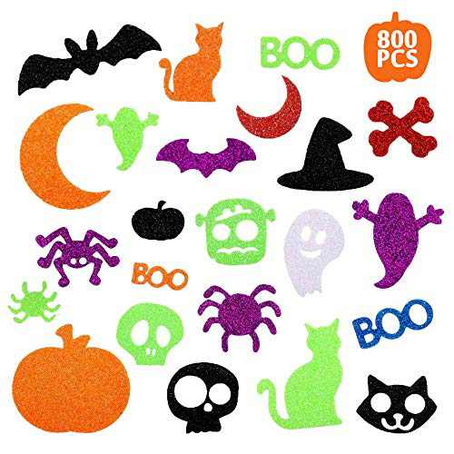 Halloween Stickers for Kids, 800 Pcs Glitter Foam Craft Stickers Self Adhesive Pumpkin Shape Stickers for Kids Party Halloween Decorations