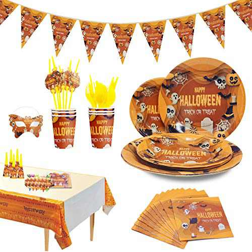 Halloween Party Supplies for kids - Perfect Halloween Party Supplies Pack for Spooky Halloween Themed Parties, Disposable Tableware Kit for 6 People, includes 78 pieces of party accessories