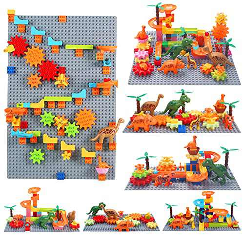 Marble Run Building Blocks Toys, Classic Big Blocks Compatible with All Major Brands, Cute Dinosaur Gear Track Toys Set for Toddlers Kids Age 3+ Year Old Boys and Girls